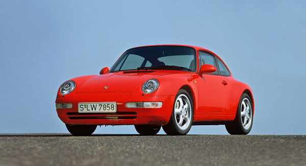 A red Porsche 993 seen from the front