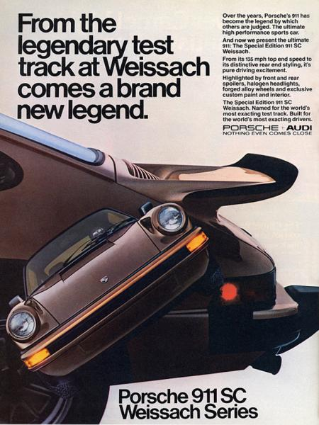 Ad for the 1980 Porsche 911 Weissach edition
